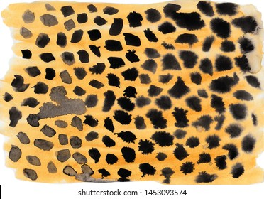 Watercolor animal print of a cheetah. Hand-drawn horizontal illustration. Yellow, brown and black colors on white paper.