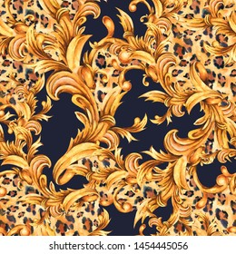 Watercolor animal print with golden baroque seamless pattern, rococo ornament texture. Hand drawn gold scrolls, leaves. Vintage design collection, Fashion glamour leopard on black background