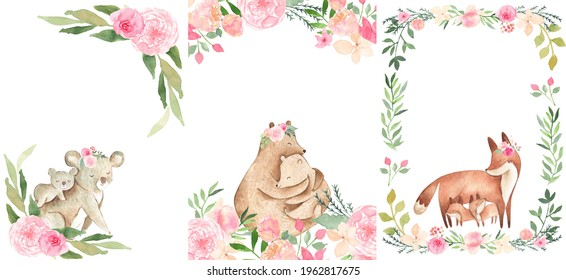 Watercolor animals illustration with mother and baby bear, koala, fox with boho flowers invitation frame template