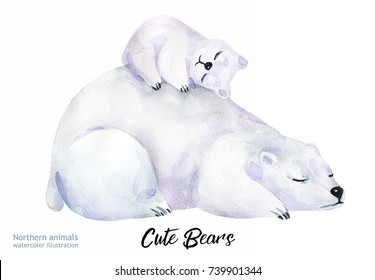 Watercolor animals illustrations. Cute wild animal. Polar Bears silhouette isolated on a white background. Sketch art.  Mother's Day card handmade. Save the Arctic.