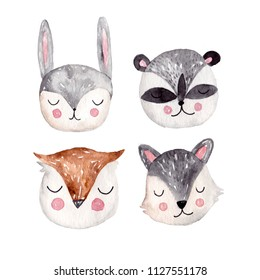 Watercolor animals stickers. Hand drawn animals head. Bunny and raccoon, owl and wolf illustration.