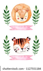 Watercolor animals stickers with ribbon and branch. Hand drawn animals heads. Lion and tiger illustration.