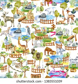 Watercolor animals at the zoo seamless pattern, hand drawn on a white background