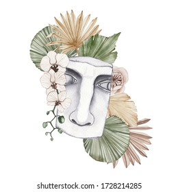 Watercolor antique marble statue of half face with boho flowers, dried tropical palm leaf isolated isolated illustration sculpture