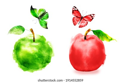 Watercolor apple and butterfly on white