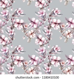 Watercolor apple tree flowers vintage style floral ornament on grey seamless background for use in design, for fabrics, textiles, Wallpaper, paper