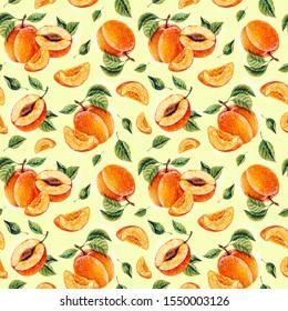 Watercolor Apricot. Botanical watercolor hand drawn illustration. Apricot. Watercolor fruits. Seamless pattern