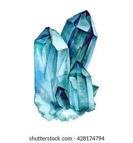Watercolor Aquamarine. Semiprecious crystal. Hand drawn illustration