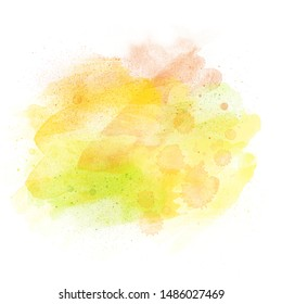 Watercolor aquarelle background isolated on white with copy space, yellow orange green design