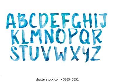 Watercolor aquarelle font type handwritten hand drawn doodle abc alphabet uppercase letters