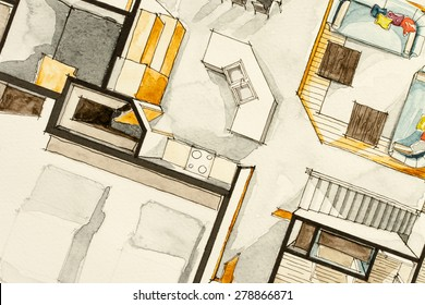 Watercolor aquarelle ink attractive traditional drawing technique used for graphic representation of floor plan real estate property, showing cozy housing project concept in isometric artistic way