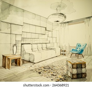 Watercolor aquarelle and ink freehand sketch perspective architectural drawing of a living room in an apartment flat, showing artistic custom unique approach to real estate business and design process