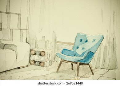 Watercolor aquarelle ink freehand sketch perspective architectural drawing of different pieces of furniture, showing artistic custom unique approach to real estate business and boutique design process