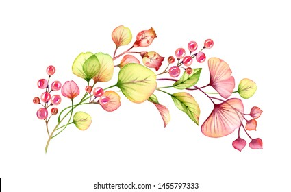 watercolor arch transparent floral arrangement hand painted of berries leaves, branches in pastel pink, green orange red coral botanical illustration wedding design elements