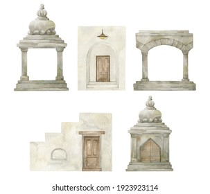 Watercolor architecture element of tropical houses. Modern white home, doors. Ancient temples from jungle.