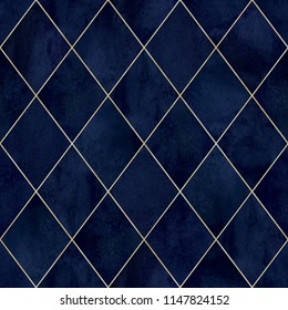 Watercolor argyle abstract geometric plaid seamless pattern with gold glitter line contour. Watercolour hand drawn blue navy luxury glittering background. Print for textile, wallpaper, wrapping.