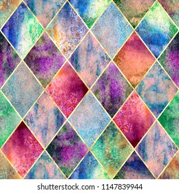 Watercolor argyle abstract geometric plaid seamless pattern with gold glitter line contour. Watercolour hand drawn bright colorful texture background. Print for textile, wallpaper, wrapping.