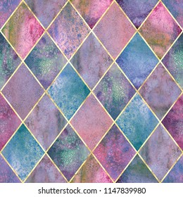 Watercolor argyle abstract geometric plaid seamless pattern with gold glitter line contour. Watercolour hand drawn colorful purple texture background. Print for textile, wallpaper, wrapping.