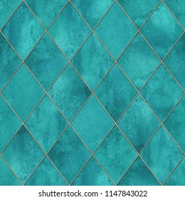 Watercolor argyle abstract geometric plaid seamless pattern with gold glitter line contour. Watercolour hand drawn teal turquoise blue texture background. Print for textile, wallpaper, wrapping.