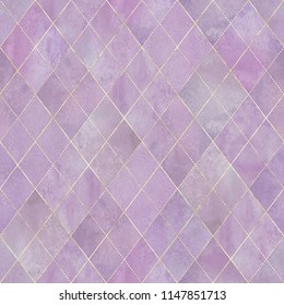 Watercolor argyle abstract geometric plaid seamless pattern with gold glitter line contour. Watercolour hand drawn lavender color texture background. Print for textile, wallpaper, wrapping.