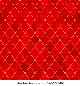 Watercolor argyle abstract geometric plaid seamless pattern with gold glitter line contour. Watercolour hand drawn red color luxury glittering background. Print for textile, wallpaper, wrapping.