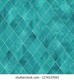 Watercolor argyle abstract geometric plaid seamless pattern with gold glitter line. Watercolour hand drawn teal turquoise background. Luxury glittering texture. Print for textile, wallpaper, wrapping
