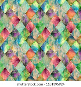 Watercolor argyle abstract geometric plaid seamless pattern. Watercolour hand drawn bright green colorful texture background. Textured print for textile, wallpaper, wrapping.
