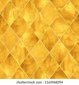 Watercolor argyle abstract yellow gold geometric plaid seamless pattern with gold glitter contour. Watercolour hand drawn luxury glittering texture background. Print for textile, wallpaper, wrapping.