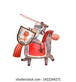 Watercolor armed knight. Cute hand drawn card. Helmet, shield and sword. Medieval military paladin. Fairy tale cartoon character. Honor horse and silver soldier. Swordsman from european kingdom.