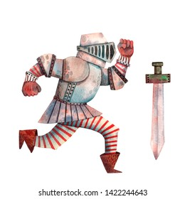 Watercolor armed knight. Cute hand drawn card. Helmet, shield and sword. Medieval military paladin. Fairy tale cartoon character. Honor silver soldier. Swordsman from european kingdom.