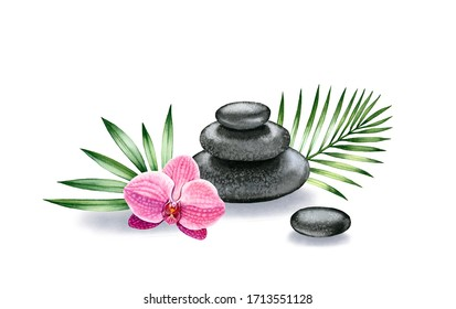 Watercolor arrangement of stones and orchid. Dark basalt pyramid with tropical flower and palm leaves. Spa and interior decor isolated on white background.