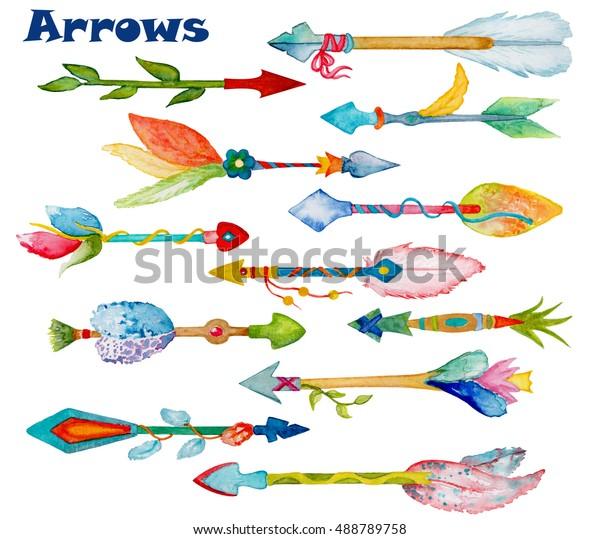 Watercolor Arrow Floral Decor Set Handdrawn Stock