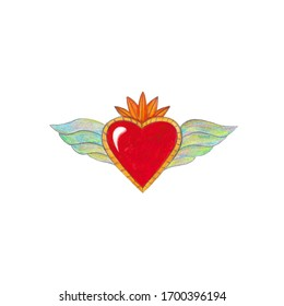 Watercolor art of heart in vintage style , traditional Mexican hearts.Hand-drawn heart isolated on a white background.