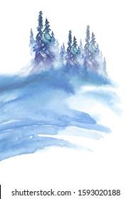 Watercolor art illustration. Drawing of the blue forest, pine tree, spruce, cedar. Dark, dense forest, suburban landscape. Postcard, logo, card, banner. Misty forest, haze. wood on a snowy slope.