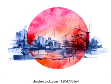 Watercolor art illustration. splash of paint, stain, background. black, blue Silhouettes industrial city zone, urban landscape, red sun, sunset. Watercolor logo, drawing on a white background.