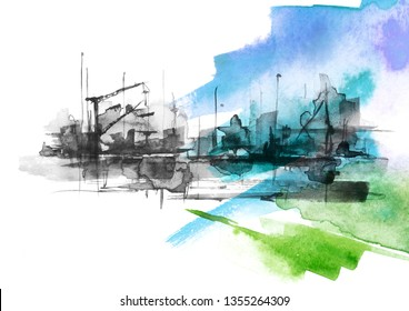 Watercolor art illustration. splash of paint, stain. black Silhouettes industrial city zone, urban landscape.Watercolor logo, drawing. Construction, crane, silhouette of the port.Abstract paint splash