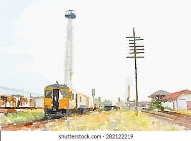 Watercolor art painted of old train on railway