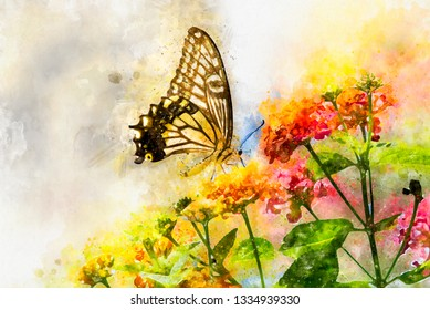 Watercolor art painting of colorful swallowtail butterfly flying above flowers