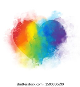 Watercolor art rainbow heart - isolated on white background
