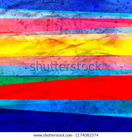 Watercolor Art retro color abstract geometric background stripes .