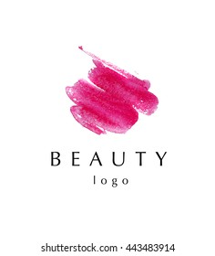 Watercolor artistic abstract creative logo sample design. Watercolor brush stroke logo backdrop isolated on white background. Business company insignia unique element. Beauty fashion industry.