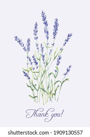 """A watercolor artistic hand drawn group of lavender flowers and a writing """"Thank you!"""" with a real aquarelle paper texture on light background for design of text, labels, greeting and invitation cards"""