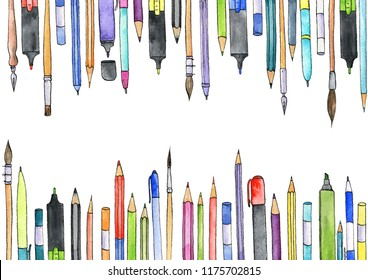 watercolor artistic workspace, hand drawn creative background, art materials at white background, painting illustration