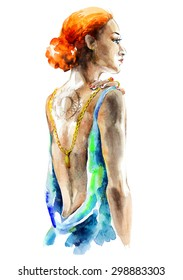 Watercolor artwork with an elegant young woman. Hand drawn raster illustration.