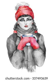 Watercolor artwork with a fashion girl in a red hat. Grayscale stylization. Hand drawn raster illustration