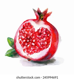 Watercolor artwork with a  heart in a pomegranate. Hand drawn raster illustration