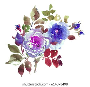 Watercolor Artwork Illustration Hand  Floral Painted Composition Summer Bouquet Roses Rhododendrons and Leaves 4 in Violet