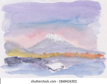 Watercolor Asian scenery with large mountain on the background with lake and mountain reflection. Great for Japan tours promotion, decoration, postcards, relaxation and meditation. Stock mountain pic.