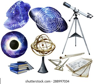 Watercolor astronomy collection isolated on white background