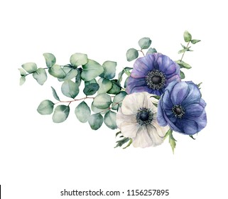 Watercolor asymmetric bouquet with eucalyptus and anemone. Hand painted blue and white flowers, eucalyptus leaves and branch isolated on white background. Illustration for design, print or background